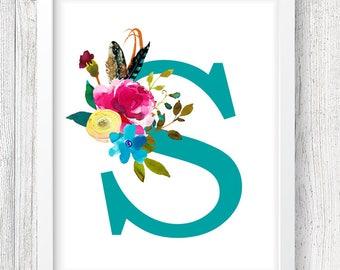 Letter S Digital Print, Monogram Print, Custom Nursery Print, Floral Print, Instant Download, 8x10 Digital Print, Nursery Wall Decor, Baby