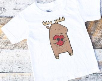 Valentine Onesies® Shirt For Boys, Moose Onesie, Valentine Moose Onesie, Woodland Onesie, Woodland Clothing, Baby Boy Shirt, Heart Onesie
