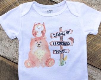 NEW Bear Onesies®, Beware of Ferocious Bears, Baby Boy Onesie, Camping Onesie, Woodland Animals, Graphic Onesie, Baby Singlet, Owl, Hedgehog