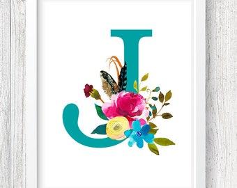 Letter J Digital Print, Monogram Print, Custom Nursery Print, Floral Print, Instant Download, 8x10 Digital Print, Nursery Wall Decor, Baby