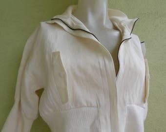Vintage Kenzo Paris Jacket Zip Front with Ribbing Very Vintage Small