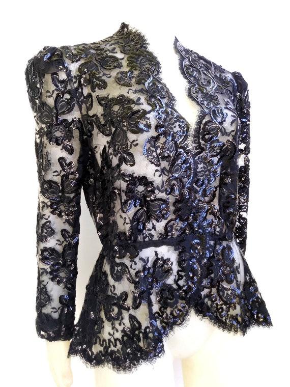 TRAVILLA Vintage Lace Sequin Women's Evening Jacke