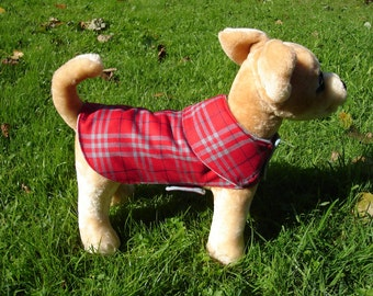 Dog Coat - Red and Grey Plaid Dog Coat- Size XX Small- 8 to 10 Inch Back Length - Or Custom Size