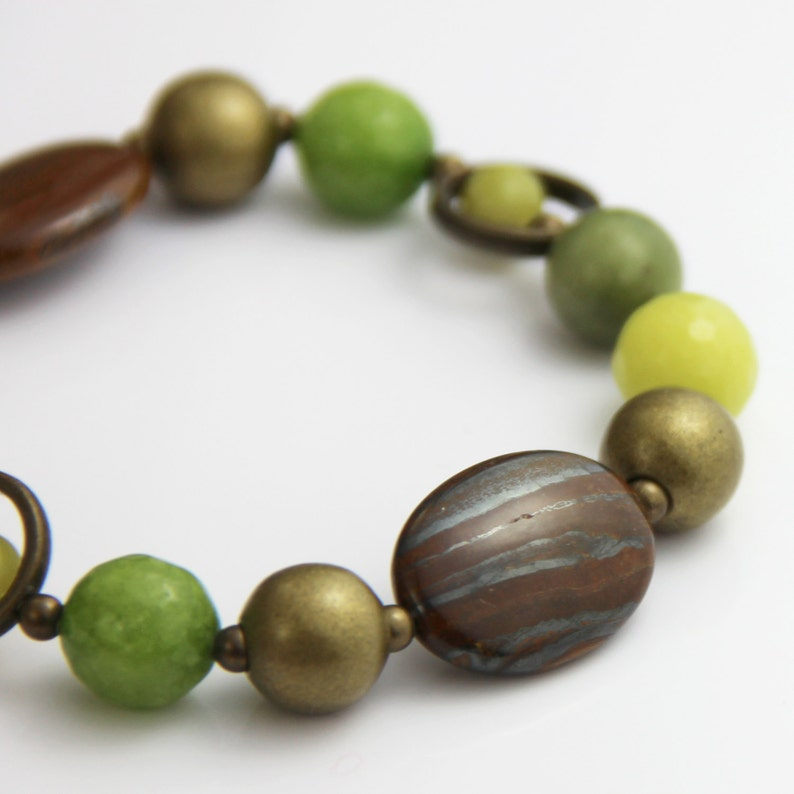 Woodland Stone Stretch Bracelet  Earthy Brown Lime Citron image 0