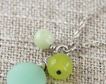 Seafoam Pendant Necklace - Matte Mint Sea Glass Faceted Lime Green Chartreuse Jade Stone Pendant Cluster Silver Short Necklace