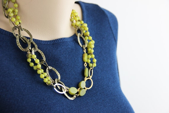 Vintage Serpentine and Bead Necklace in Solid Brass