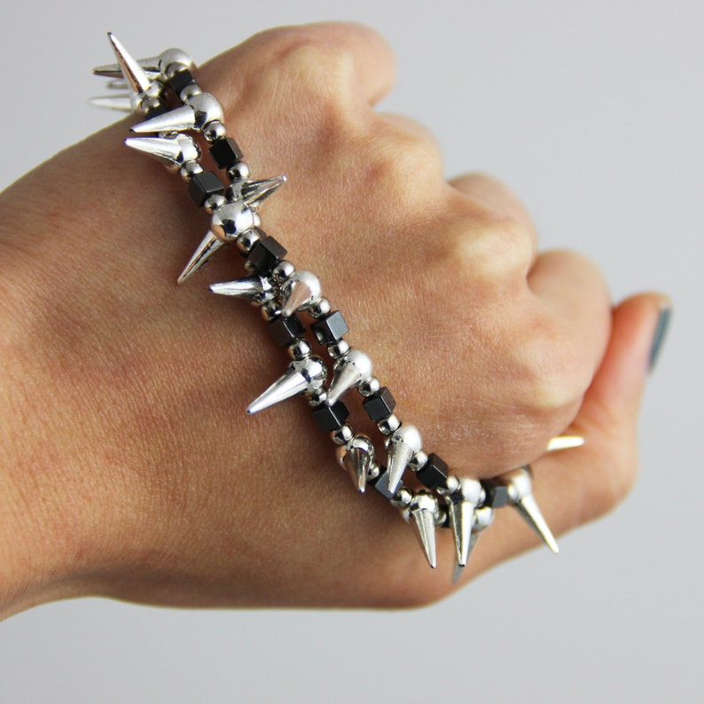 Spiker  Metallic Gray Hematite Stone Silver Beaded Stretch image 0