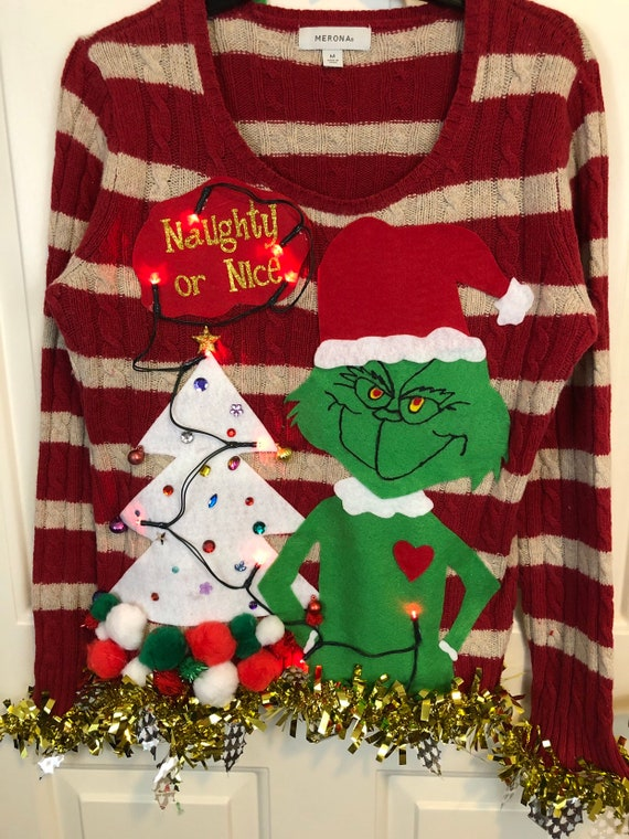 Tacky Ugly Christmas Sweater The Grinch Naughty Or Nice Etsy