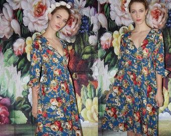 1980s does 1950s Vintage 1950s Bombshell Pinup Deep V Neck Floral Cotton Dress - Fifties Cotton Dress  - 50s Cotton Dresses   - WV0558