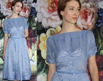 Vintage 1950s Blue Semi-Sheer Pinup Bombshell Cupcake Prom Wedding Dress - 50s Dresses - WV0488
