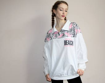 90s Venice Beach California Surf Neon Graphic Beach Sweater - 19990s Surfer Sweaters - 90s Clothing - WV0357