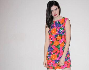 Vintage 1960s Rainbow Floral Mod Neon Dress - 60s Floral Dresses - W00748