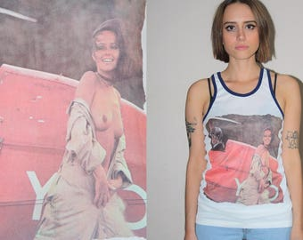 Free the Nipple Vintage Graphic Topless 1970s Model Exposed Breasts Nylon Ringer Tank Top Shirt  - 70s Clothing - WTT-3