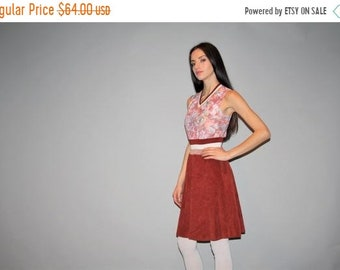 0e03bdb063 Final SALE 70% Off - 1970s Corduroy skirt floral jersey v neck short Dress  - Vintage 70s Dress - - W00277