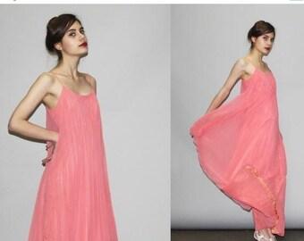 8e9847d40ff Final SALE 55% Off - 1970s Coral Salmon Peachy Hot Pink Sheer Chiffon Feel  Pleated Goddess Maxi Dress - Sheer Maxi Dress - 70s Evening Gown