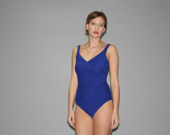 39449c05d1 1980s Electric Blue Pinup Bombshell Swim Suit - Vintage 80s Bathing Suit -  80s Pinup One Piece Bathingsuit - WB0362