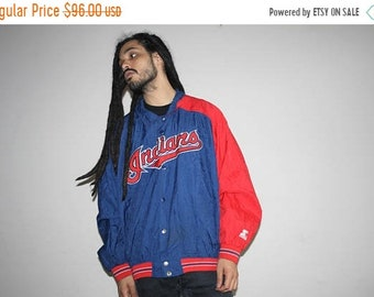 On SALE 60% Off - 80s Vintage Cleveland Indians MLB Baseball Starter Brand Bomber Jacket - 80s Clothing - MV0598