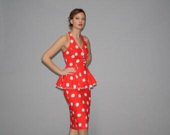 1980s Does 1940s Red and White Polka Dot Peplum Pinup Rockabilly Wiggle Dress - Vintage Polka Dot Dress - Vintage Wiggle Dress - WD0644