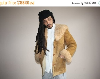 On SALE 60% Off - 1960s Vintage Brown Leather Suede and Lambs Wool Shearing Hip Hop Coat - 60s Shearling Fur Coats - 60s Clothing
