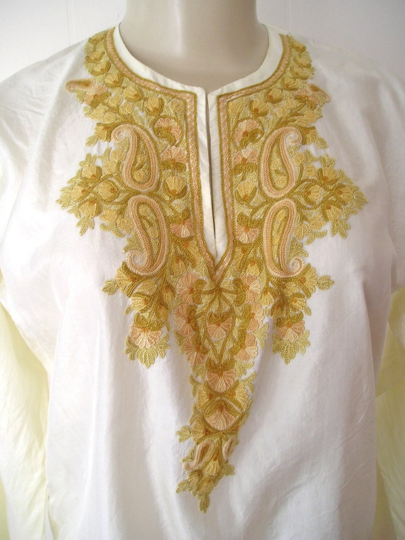 Mod 1960s Silk Indian Blouse with Kashmiri Embroid
