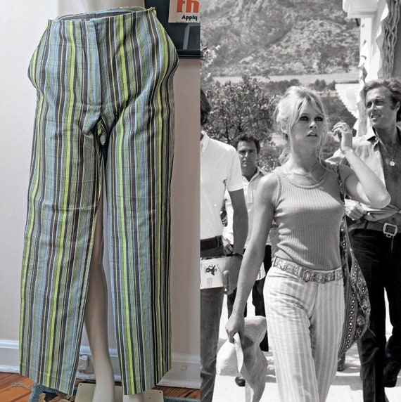 Sexy Mod 1960s Givenchy Stripe Pants Size 36 Bridg