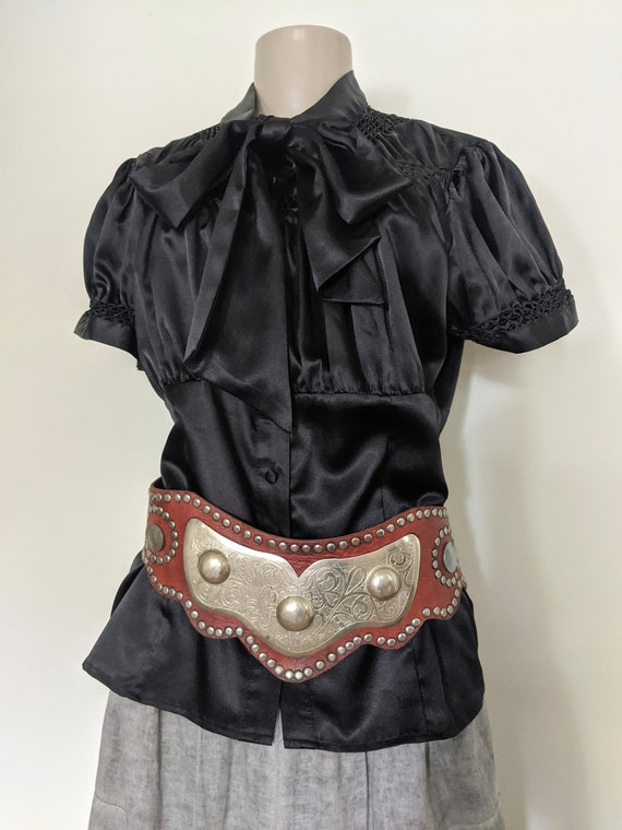 Vintage 1970s Studded Leather Bohemian Ethnic Stea