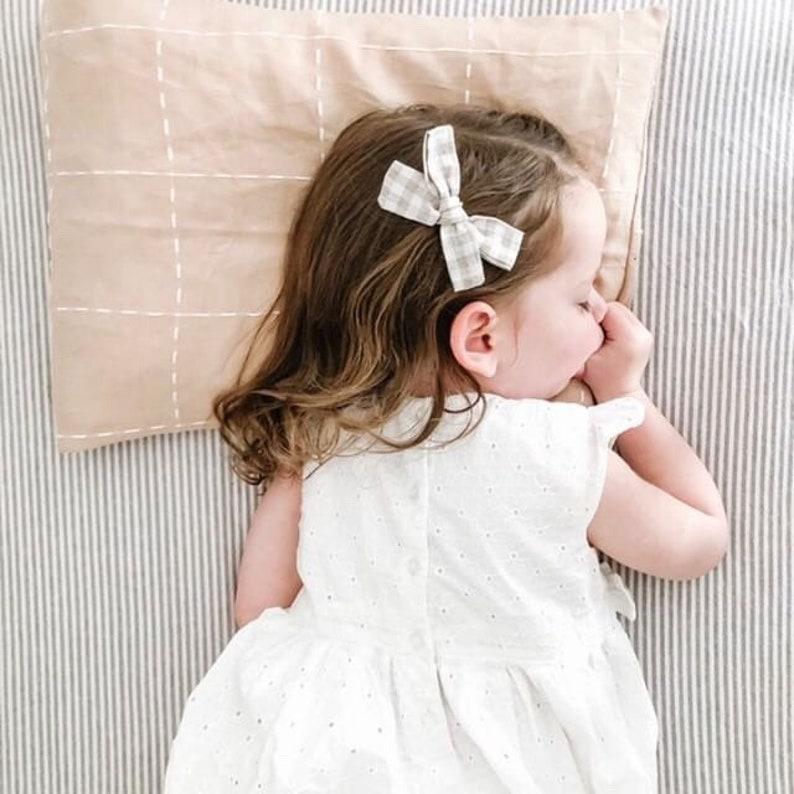 Crib Sheet READY to SHIP  Linen Baby Bedding GRAY Stripe image 0