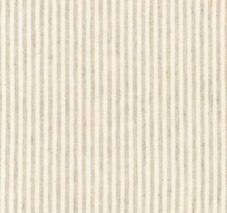 Linen MINI Baby Bedding Beige Stripe Neutral Fitted Crib image 0