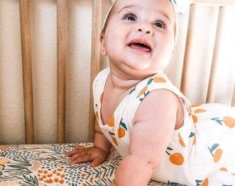Girls Crib Bedding READY SHIP Botanical Floral Baby Bedding bright colors Crib Sheets Pink rust yellow green Girls Cot Sheets greenery