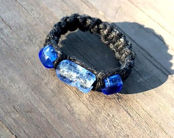 Macrame Hemp Ring with Blue Glass Beads