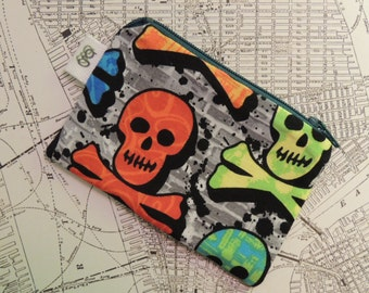 Padded Zip Pouch purse Gadget Coin Case -Skull and Crossbones print OOAK