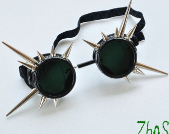 Cyber Goth Goggles Glasses 16 Spikes CyberPunk Industrial Noise Dark Wave