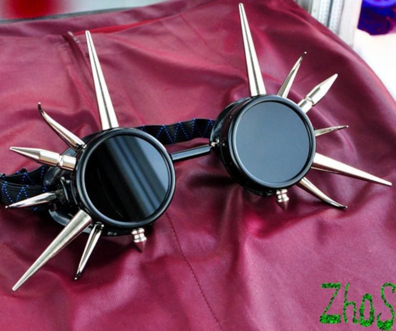 Black Cyber Goth Goggles Glasses 14  Spikes CyberPunk Industrial Noise Dark Wave