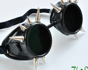 Cyber Goth Goggles Glasses  Spikes CyberPunk Industrial Noise Dark Wave motorcycle goggles burning man goggles steampunk goggles Cosplay
