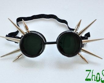 Black Cyber Goth Goggles Glasses 10  Spikes CyberPunk Industrial Noise Dark Wave