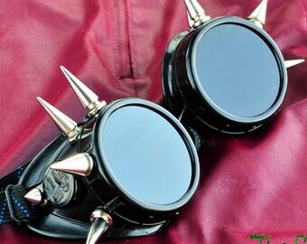 Black Cyber Goth Goggles Glasses 10 Nickel Spikes CyberPunk Industrial Noise Dark Wave Dark