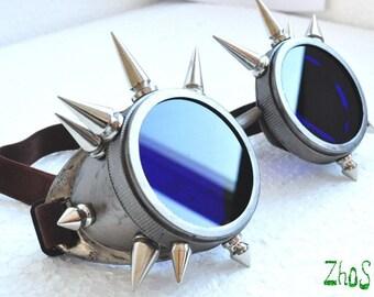 Cyber Goth Goggles Glasses 16 Spikes CyberPunk Industrial Noise Dark Wave Dark Mage    4