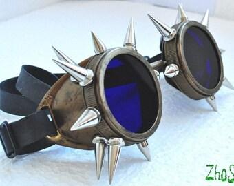 Bronze Cyber Goth Goggles Steampunk Glasses Spikes CyberPunk Industrial Noise Dark Wave Metal Industrial Studs Burning Man Road