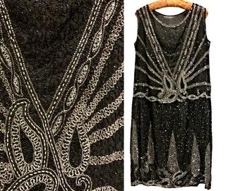 1920s Beaded Flapper Dress. RARE larger size. 20s Art Deco Beadwork Dress. Jazz Age. Charleston.