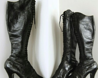 908b57a9 RARE 1920s Fetish or Burlesque Boots. Knee high, laced, high heeled leather  boots. Music Hall. Vaudeville.