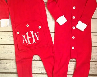 852bb7dde Christmas Pajamas, Long Johns, One Piece, Romper, Monogram, Baby, Toddler,  Pajamas, Red Pajamas, Matching PJs, Family