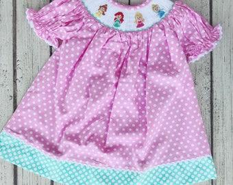 Disney Smocked Dress, Disney Princess Dress, Disney Smocked, Smocked Dress, Sibling Set, Disney Princess Dress, Smocked Disney Dress