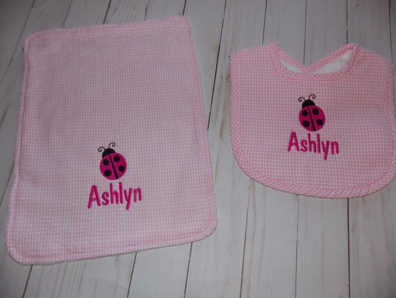 Ladybugs /& Gingham Burp Cloth Personalized