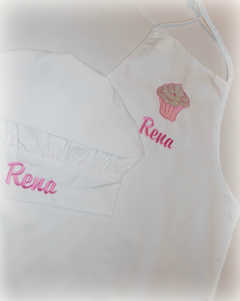 Cyber Monday Sale personalized apron Older Child/'s personalized cupcake apron and chef hat set Embroider kid apron and chef hat