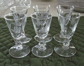 6 Vintage Mid Century Libbey Crystal Glass Cordials Fernleigh Pattern Gray Cut Floral Design Stem 3003