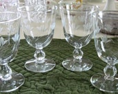 4 Vintage Mid Century Libbey Crystal Glass Water Wine Goblets Fernleigh Pattern Stem 3003 Gray Cut Floral Pattern