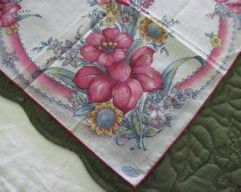 Vintage Ladies Cotton Hanky Handkerchief Pink Yellow Purple Green Floral Design Pattern Rolled Stitched Hem