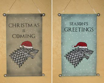 "Hand Painted ""Christmas is Coming"" Holiday Canvas Banner - Winter is Coming - Game of Thrones - House Stark - Direwolf - Sigil"