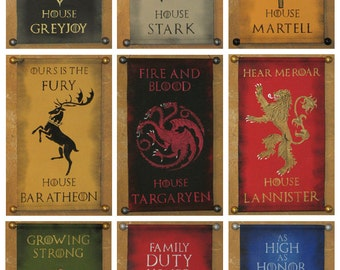 House Name AND Motto - Game of Thrones Nine Banner Bundle - Stark Baratheon Lannister Targaryen Martell Greyjoy Tully Tyrell Arryn
