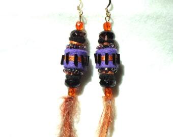 Beaded Textile Earrings, fiber earrings, dangle earrings